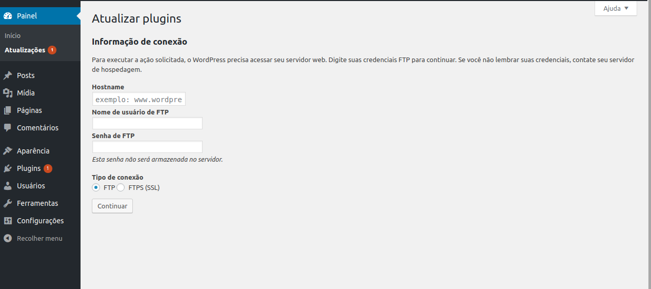 wordpress pedindo ftp